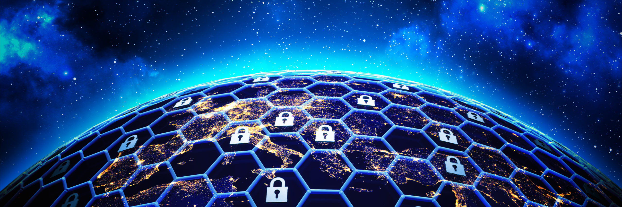 Global network security and data protection concept, a grid of cells with a lock symbol in some of them around the Earth globe on deep blue space background, 3d illustration - Illustration