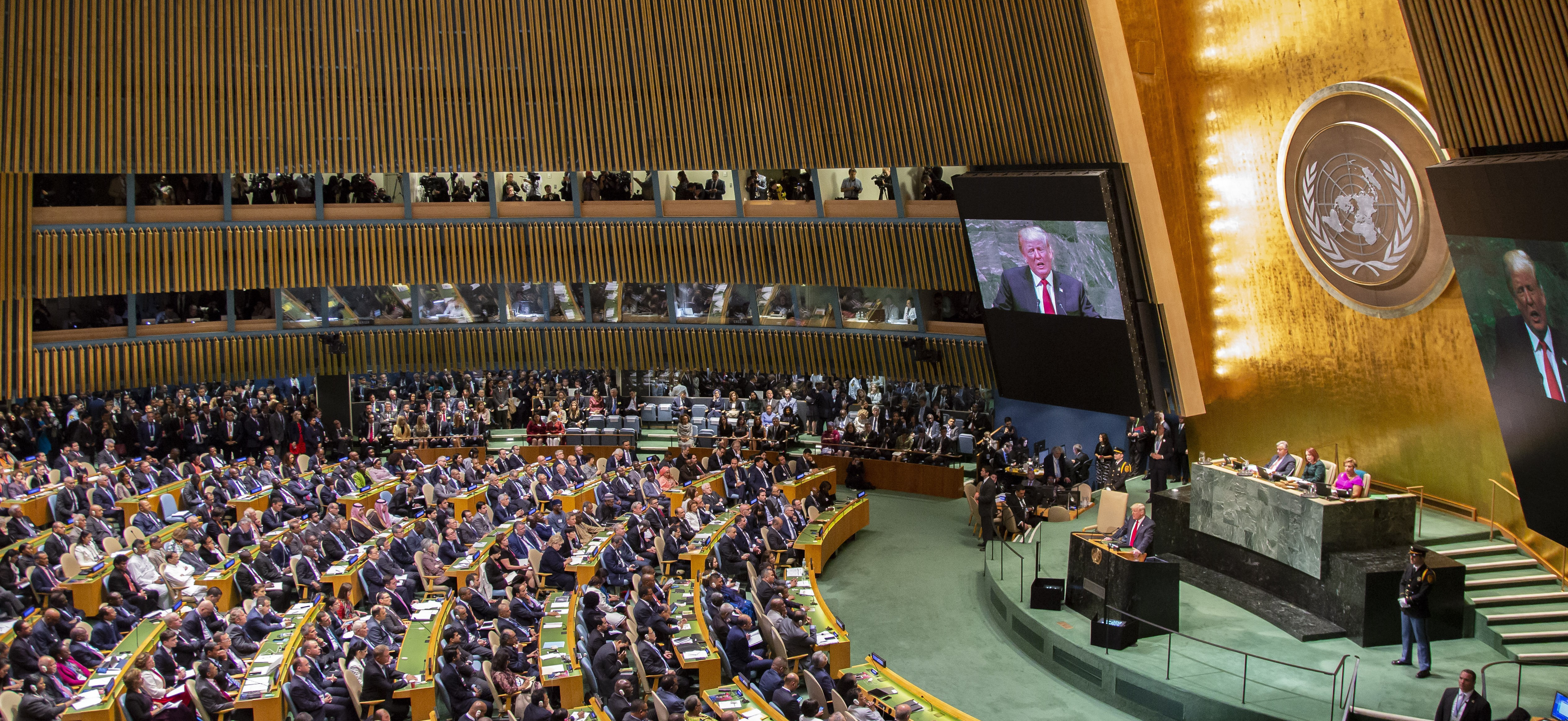 President Trump addresses the 73rd session of the United Nations General Assembly. [UN Image]