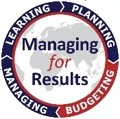 logo for managing for results with text in center and ring of quarter rocker titles including managing, learning, planning and budgeting with budgeting highlighted. [State Department Image] 3/27/2017