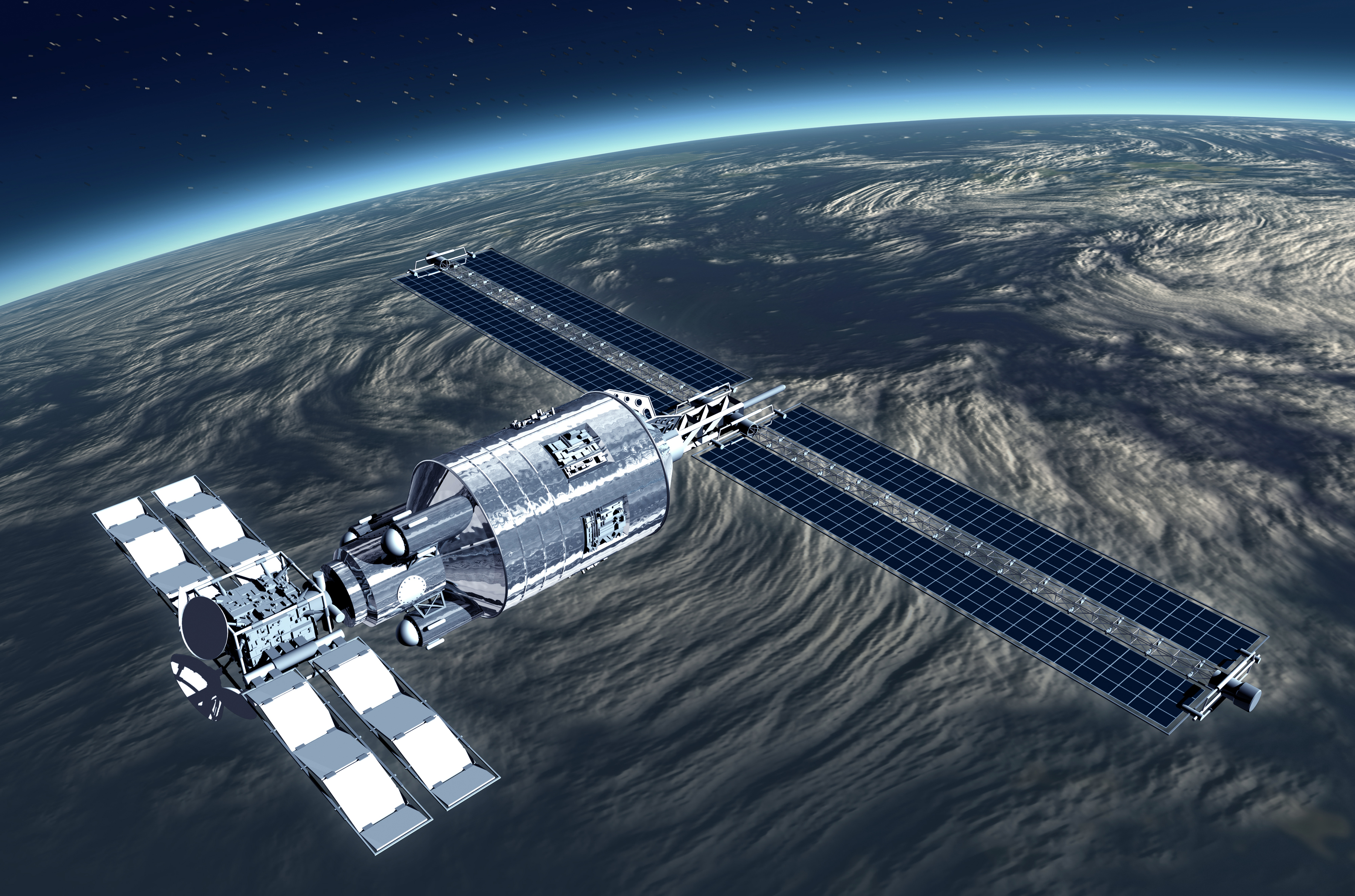 Telecommunication Satellite flying over Earth with reflecting mirror solar panels - Illustration [Shutterstock]