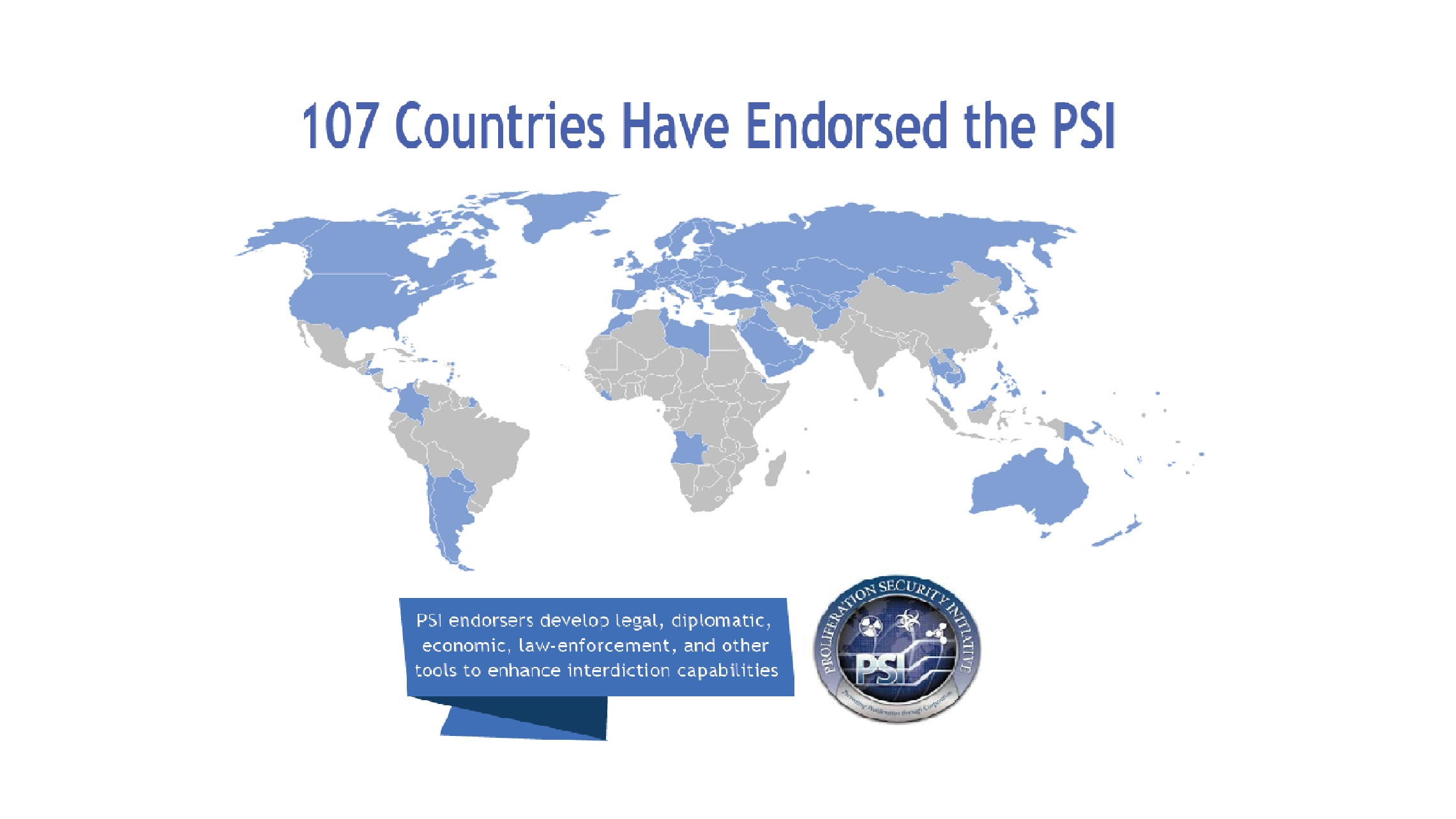Map highlighting the 107 PSI members