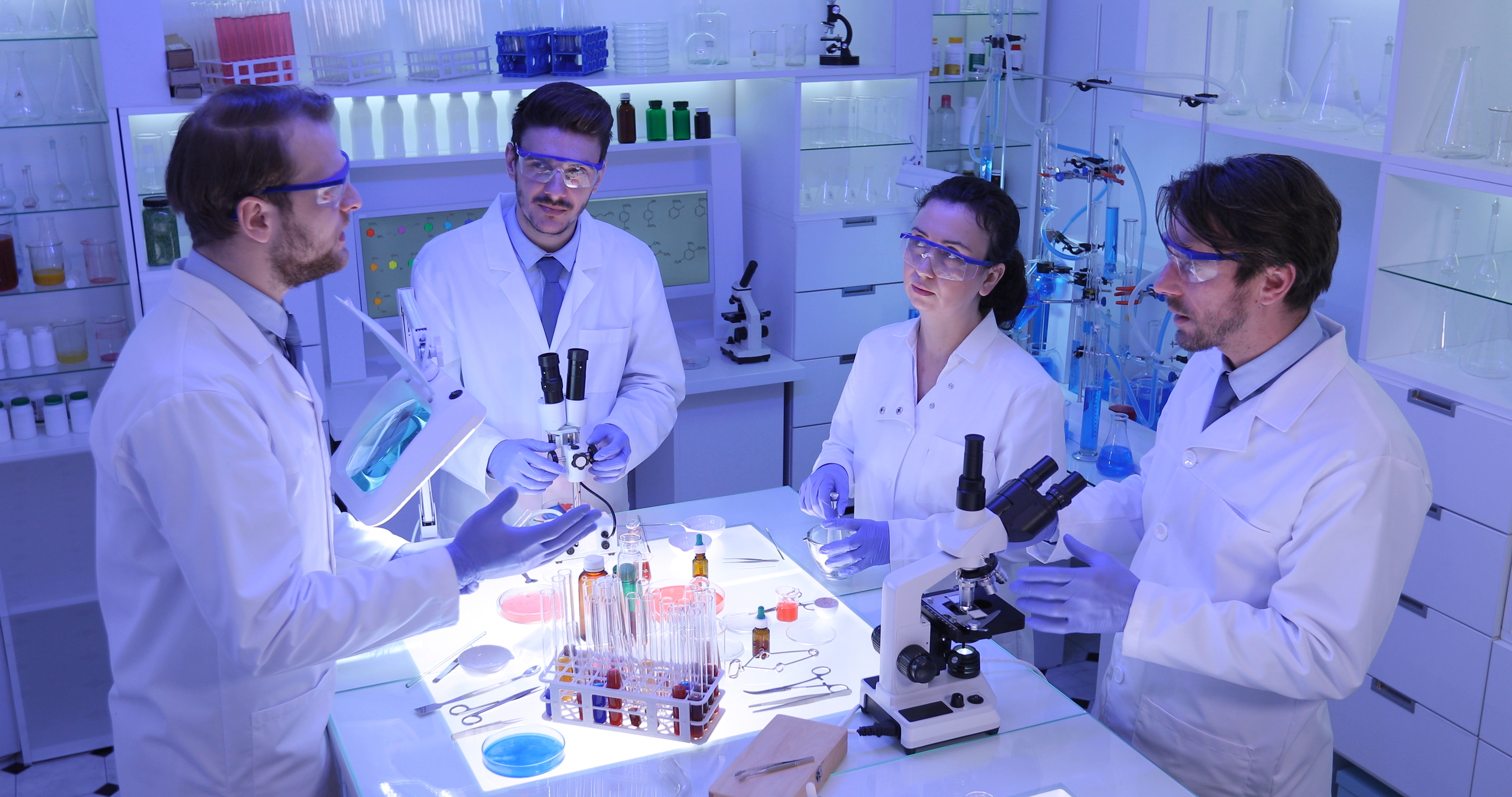 Forensics Team Working in Medical Hospital Laboratory, Scientists Talking and Collaborating in a Research Science Project - Image