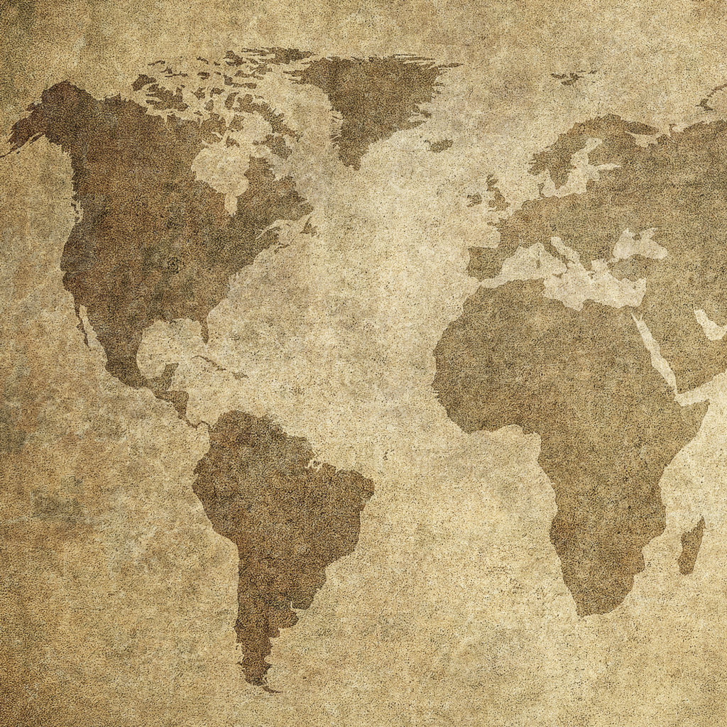 grunge map of the world - Image - cropped to Europe, Central Asia, and the Americas