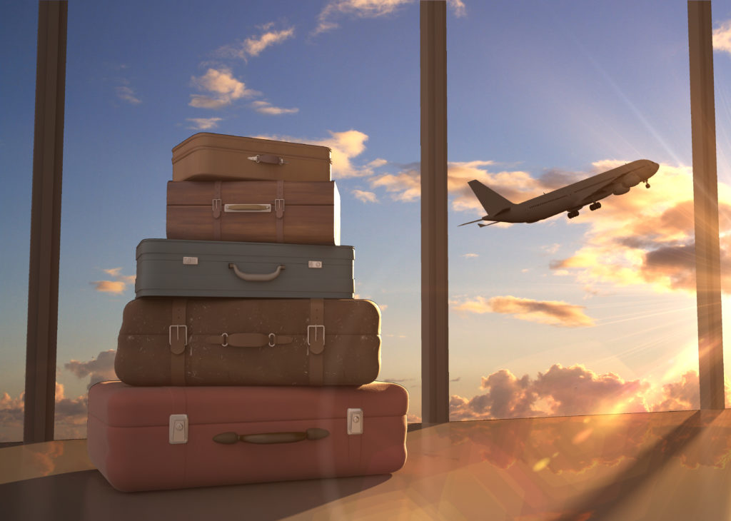 travel bags and airplane in sky - Image