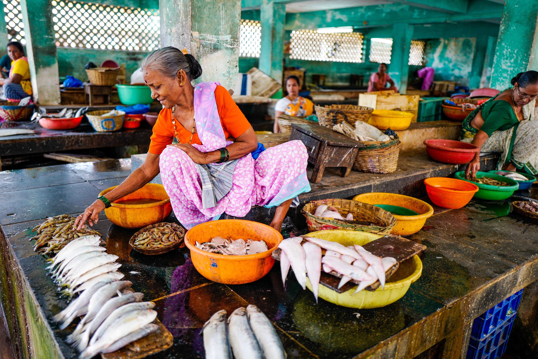 Woman selling fish at a market. (Ishay Botbol; 2015)