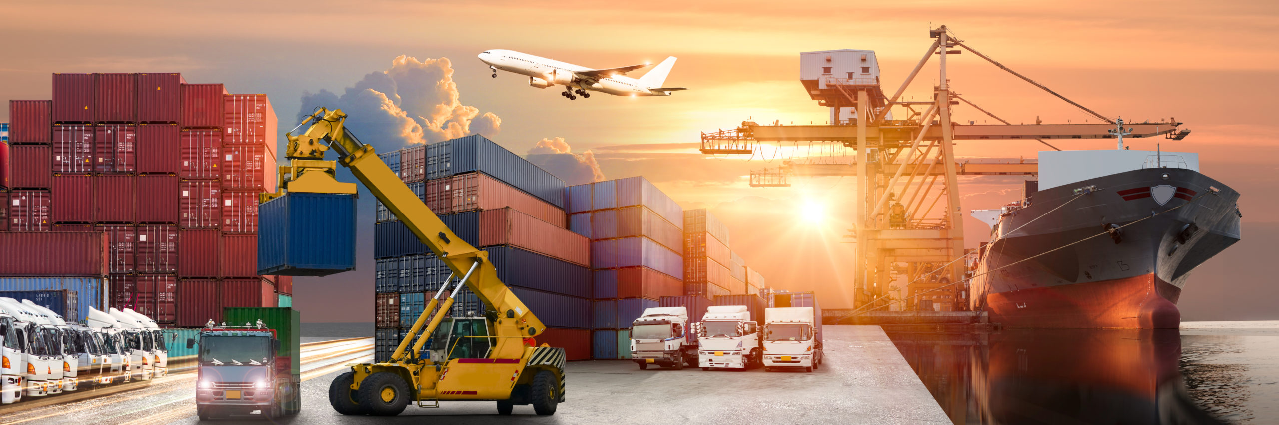 Logistics and transportation of Container Cargo ship and Cargo plane with working crane bridge in shipyard at sunrise, logistic import export and transport industry background - Image