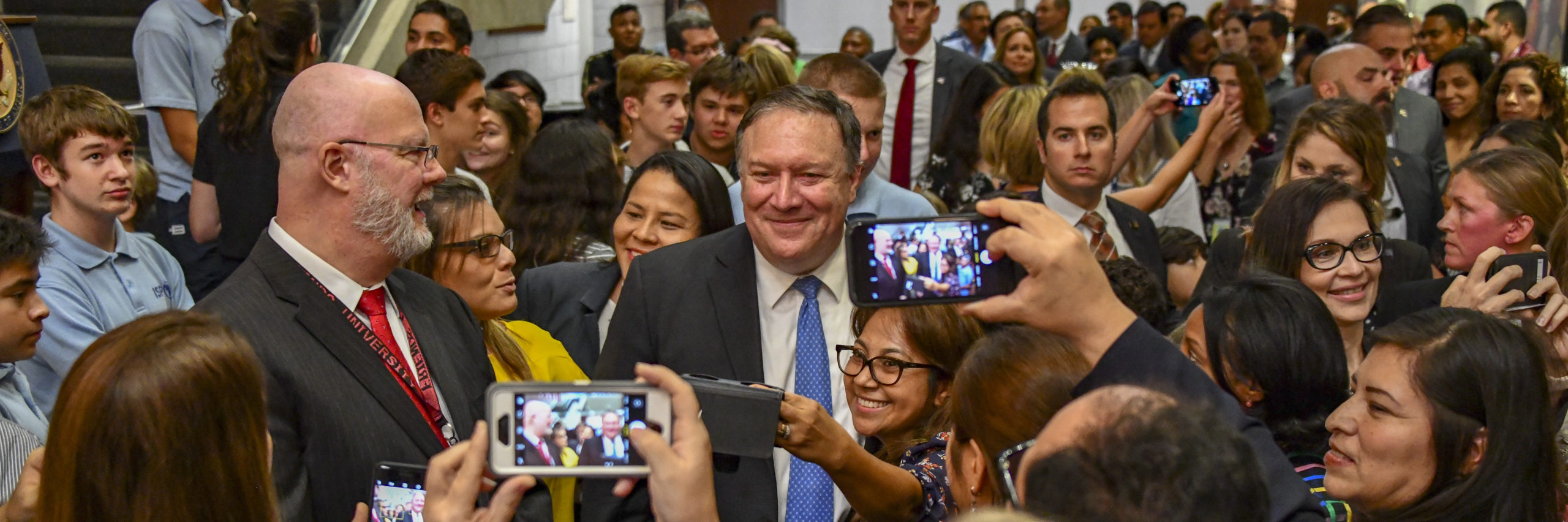 U.S. Secretary of State Michael R. Pompeo poses for photos with embassy staff at U.S. Panama in Panama City on October 18, 2018. [State Department photo by Ron Przysucha/ Public Domain]