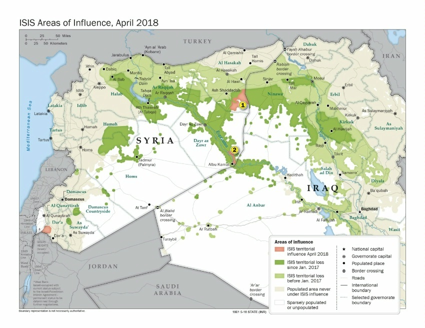 ISIS Areas of Influence April 2018. Boundary representation is not necessarily authoritative. (State Dept Image)