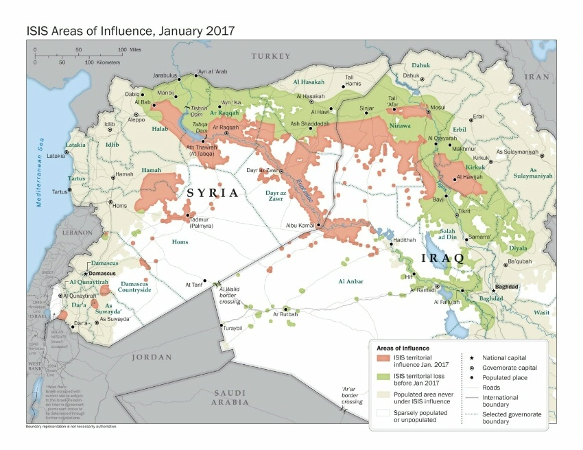 ISIS Areas of Influence January 2017. Boundary representation is not necessarily authoritative. (State Dept Image)