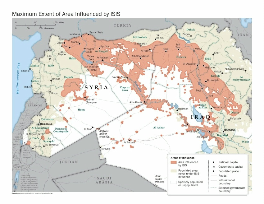Maximum Extent of ISIS Area of Influence 2014. Boundary representation is not necessarily authoritative. (State Dept Image)