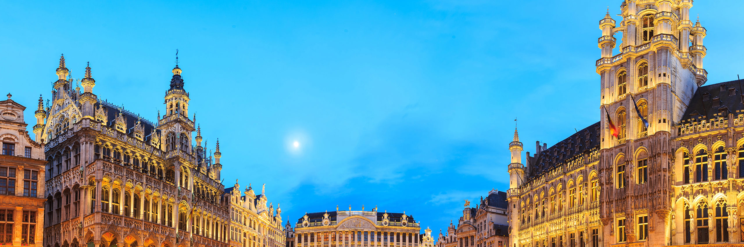 night scene of the Grand Place, the focal point of Brussels, Belgium. - Image