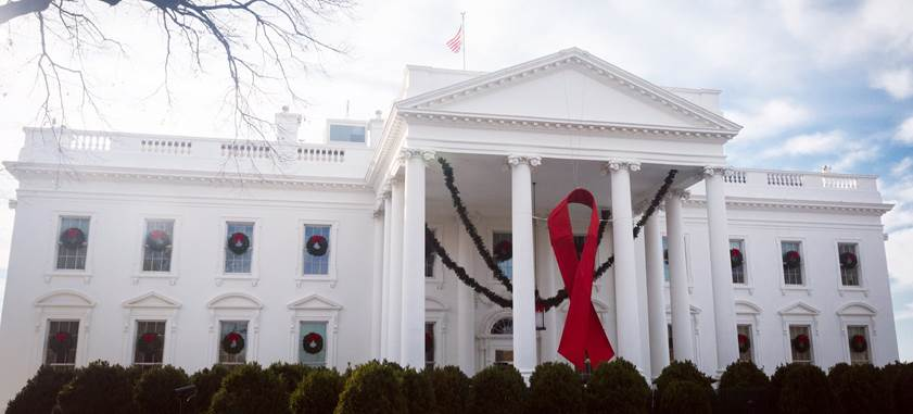 AIDS Ribbon Hangs At The White House On World AIDS Day 2017