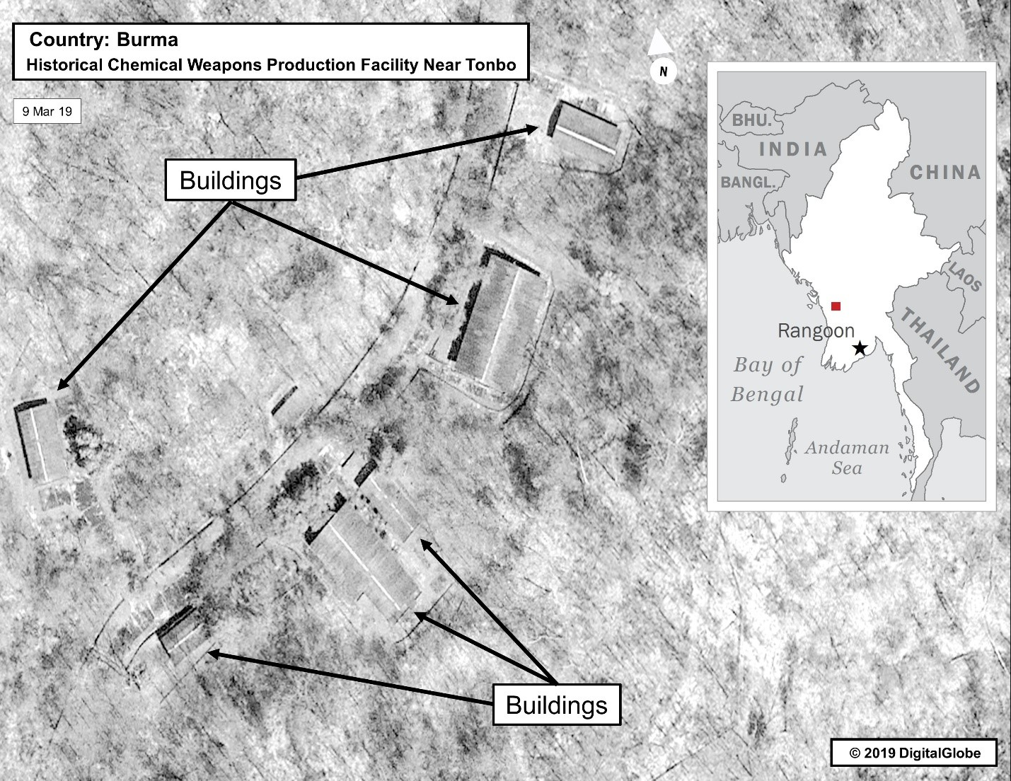 Image dated 9 March 2019 of Historical Chemical Weapons Production Facility Near Tonbo in Burma (from Digital Globe).