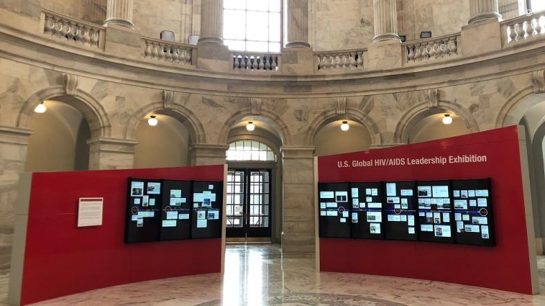 A view of the U.S. Global HIV/AIDS Leadership Exhibition on display in the Rotunda of the Russell Senate Office Building on Capitol Hill.