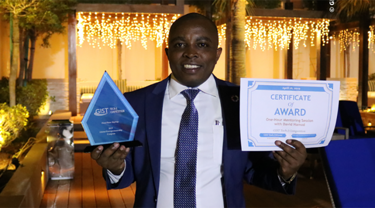 First place Startup Stage winner Donatus Njoroge of Kenya following the receipt of his award at GIST Tech-I 2019 in Bahrain.