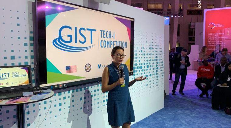 Quenny López gives her final pitch to the judges securing her award of Outstanding Woman Entrepreneur at GIST Tech-I 2019 in Bahrain.