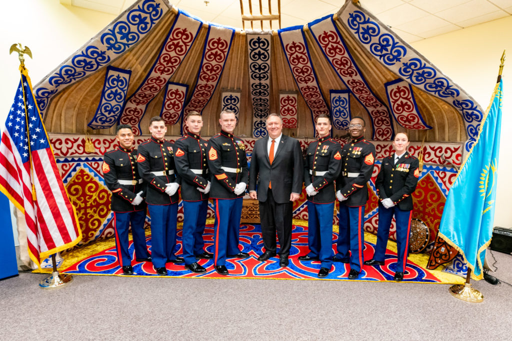 U.S. Secretary of State Michael R. Pompeo poses for a photo with the Marine Security Guard Detachment of U.S. Embassy Nur-Sultan in Nur-Sultan, Kazakhstan, on February 2, 2020.