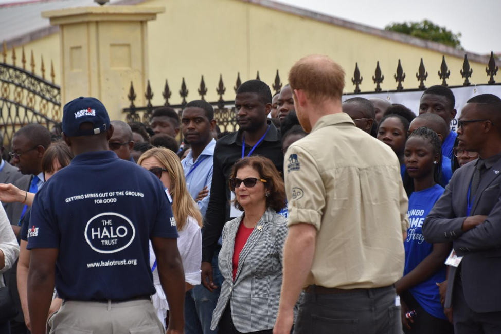 U.S. Ambassador to the Republic of Angola Nina Fite joins Prince Harry's visit to Huambo city in September 2019 (photo courtesy of The HALO Trust)