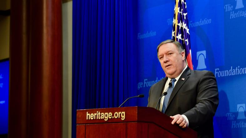"""U.S. Secretary of State Mike Pompeo delivers a speech, """"After the Deal: A New Iran Strategy"""", at the Heritage Foundation, in Washington, D.C, on May 21, 2018."""
