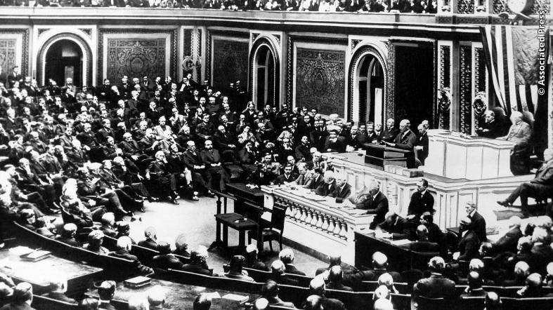 President Woodrow Wilson delivers a declaration of war to the joint session of Congress, in Washington, April 2, 1917.