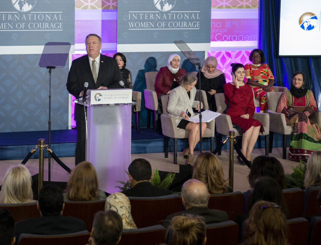 Secretary of State Michael R. Pompeo hosts the 2020 Annual International Women of Courage Awards Ceremony, at the Department of State on March 4, 2020. [State Department photo by Freddie Everett/ Public Domain]