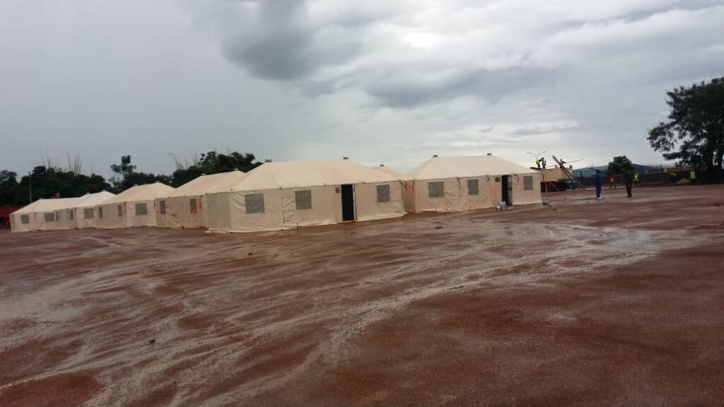 A U.S.-provided United Nations-standard level 2 expeditionary hospital facility deployed outside Kigali, Rwanda for COVID-19 response. This field hospital was delivered in 2019 under the African Peacekeeping Rapid Response Partnership program. (U.S. Department of State photo)