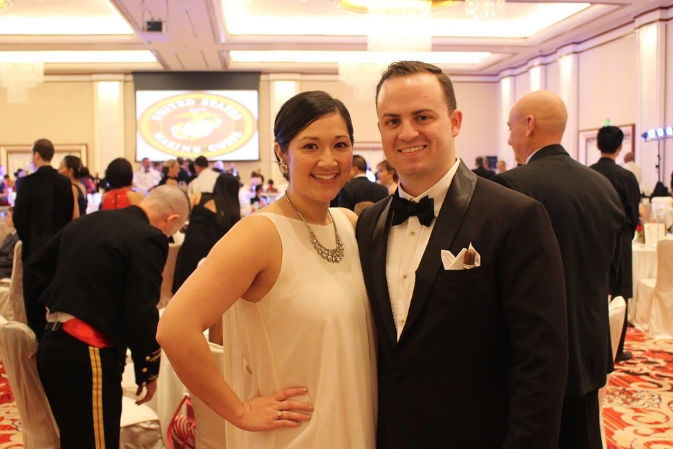 Rachael and her husband, Jeff, attend the Embassy's Marine Ball in Manila, Philippines (Photo courtesy of the Author)