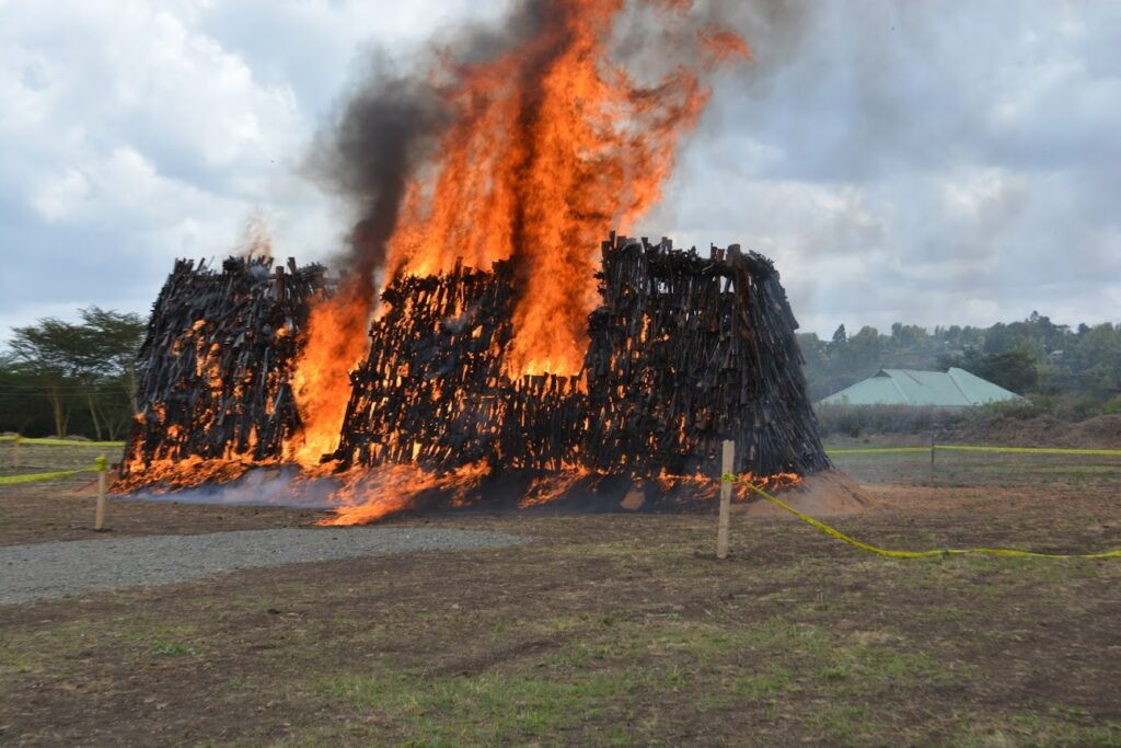 Thousands of surplus government weapons burn in a ceremony organized by the Kenyan police with U.S. support. (Photo courtesy of the Regional Center for Small Arms in the Great Lakes Region, Horn of Africa, and Bordering States (RECSA)).