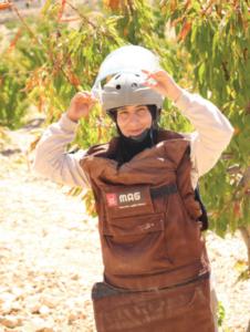 MAG deminer Zahraa (Photo courtesy of MAG)