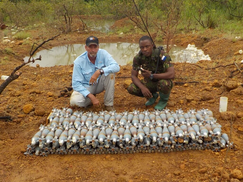 In September 2019, the Quick Reaction Force worked with the Republic of Sierra Leone Armed Forces to safely dispose of 38,562 unstable munitions. (Photo courtesy of the Golden West Humanitarian Foundation)