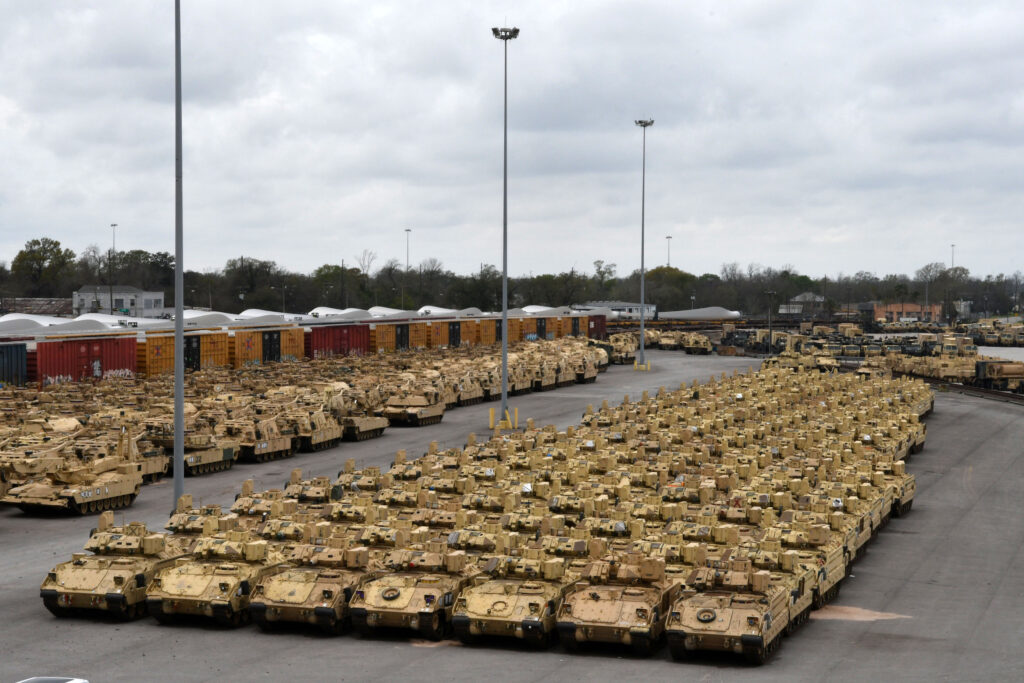 Containers and vehicles await transportation on commercial ships to Europe at the Port of Beaumont, Texas, in support of Exercise DEFENDER-Europe 20 February 18, 2020. (Photo courtesy of U.S. Army)