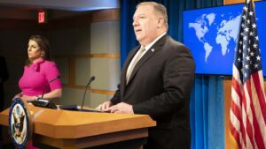 U.S. Secretary of State Michael R. Pompeo delivers remarks to the media in the Press Briefing Room, at the Department of State in Washington, D.C., on July 1, 2020. [State Department Photo by Freddie Everett / Public Domain]