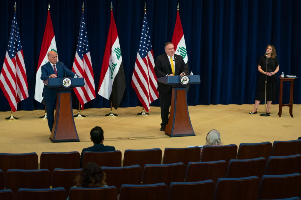 Secretary of State Michael R. Pompeo holds a joint press availability with Iraqi Foreign Minister Fuad Hussein, at the U.S. Department of State, in Washington, DC, on August 19, 2020. [State Department photo by Ron Przysucha/ Public Domain]