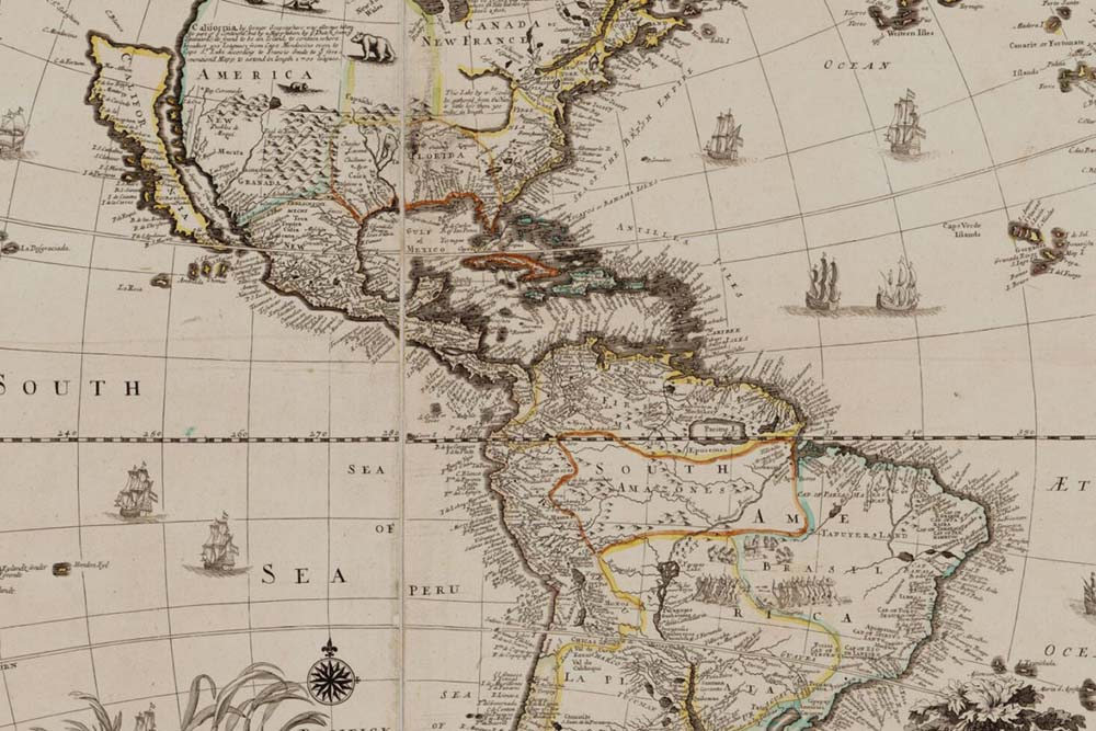 Historic Map of Western Hemisphere