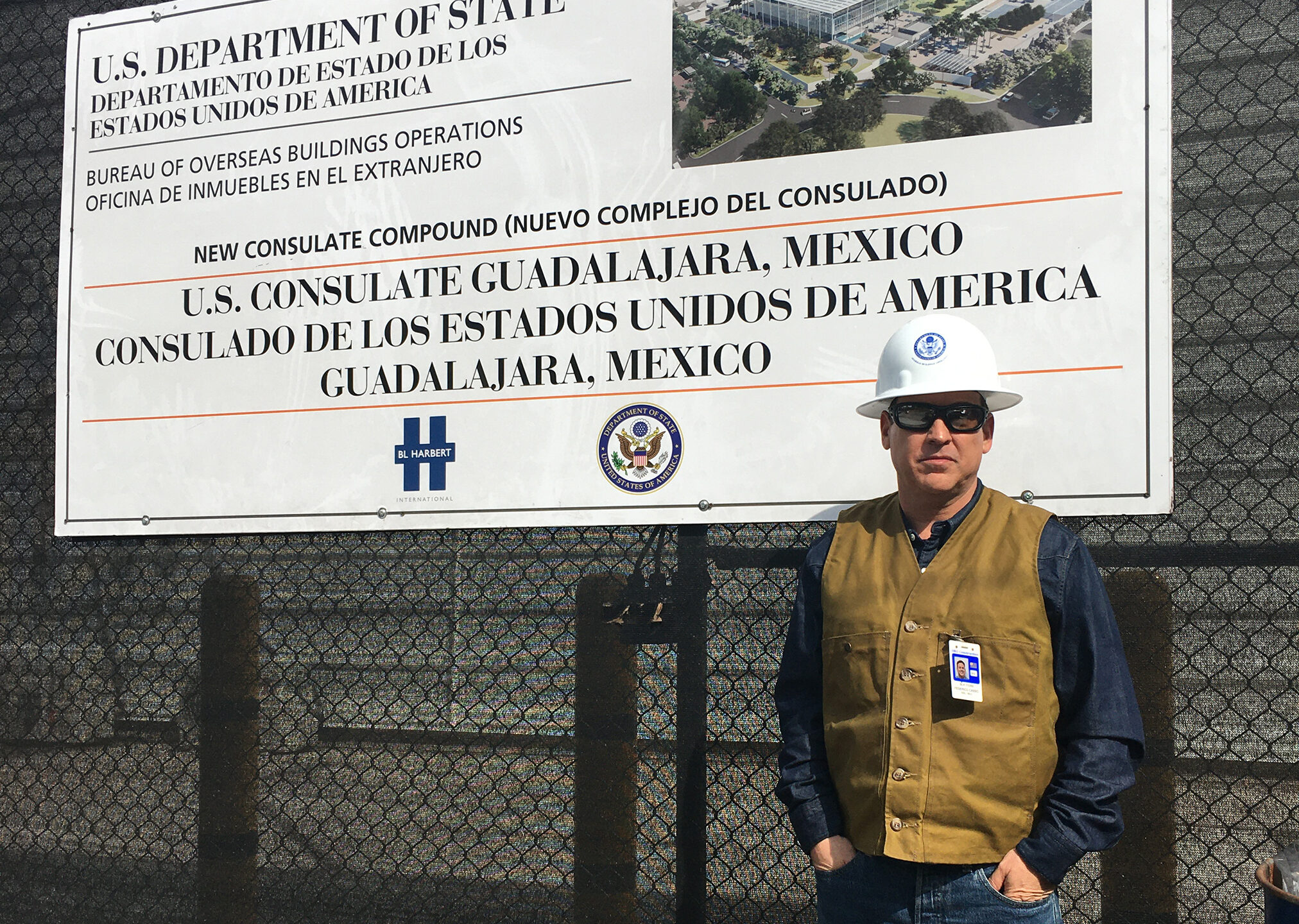 SSM Federico Casso in front of the construction site for the New Consulate Compound in Guadalajara, Mexico.