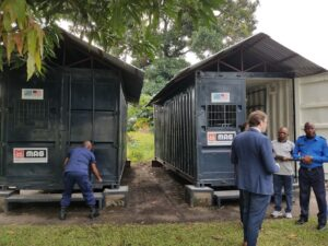 The United States provided these mobile armories to the Congolese National Police through its implementing partner Mines Advisory Group to prevent weapons theft and improve regional security. (Department of State photo)