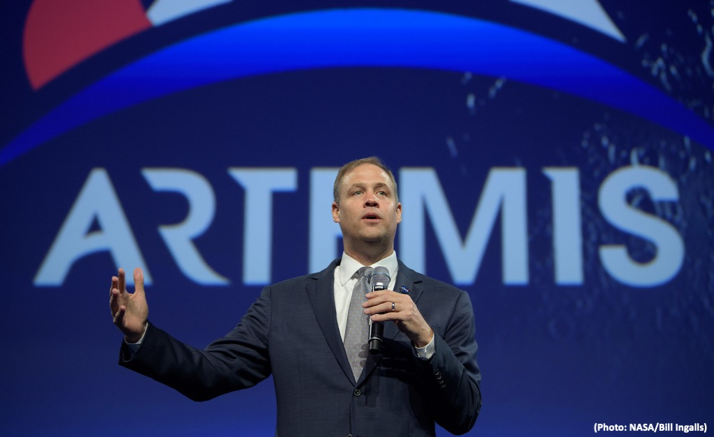 NASA Administrator Jim Bridenstine gives an update on the agency's Artemis program and the critical role international partnerships have in returning astronauts to the Moon and going on to Mars at the 70th International Astronautical Congress, Friday, Oct. 25, 2019, in Washington. Photo Credit: (NASA/Bill Ingalls)