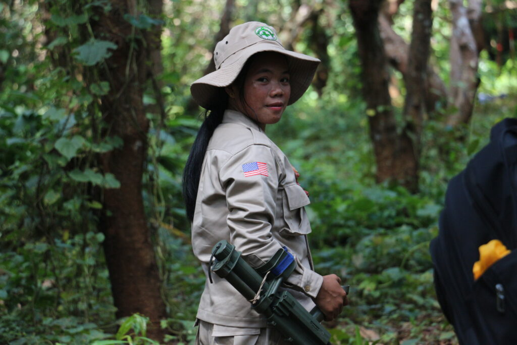 A member of a U.S. funded landmine clearance team on the job in Cambodia. (Photo courtesy of NPA)