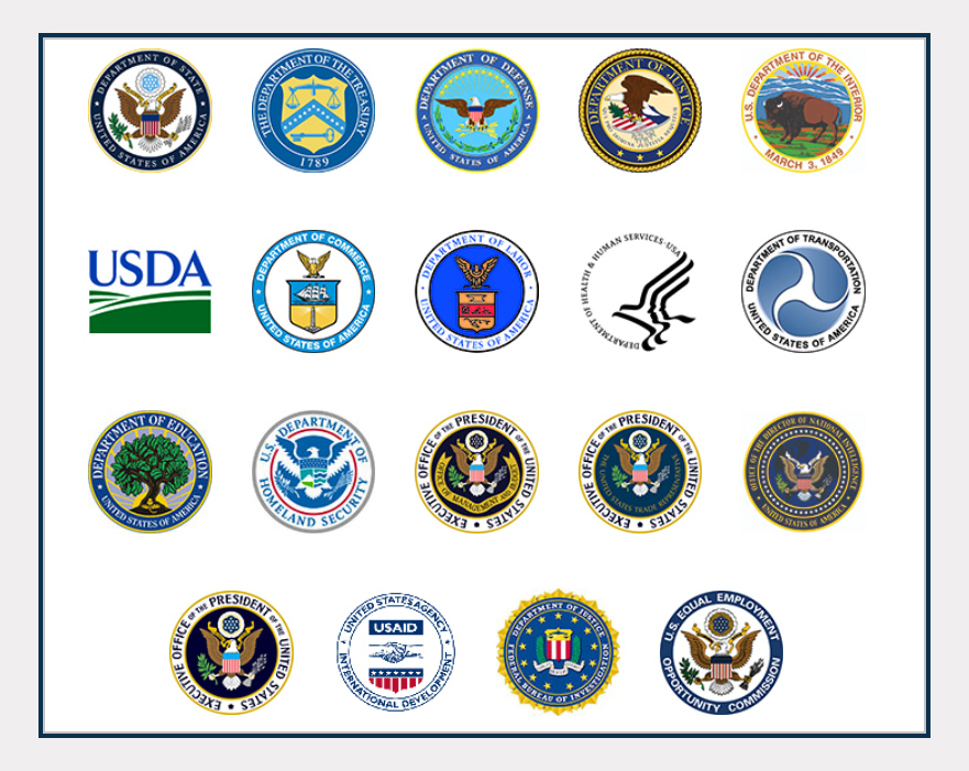 Seals of the President's Interagency Task Force to Monitor and Combat Trafficking in Persons (PITF) Agencies.