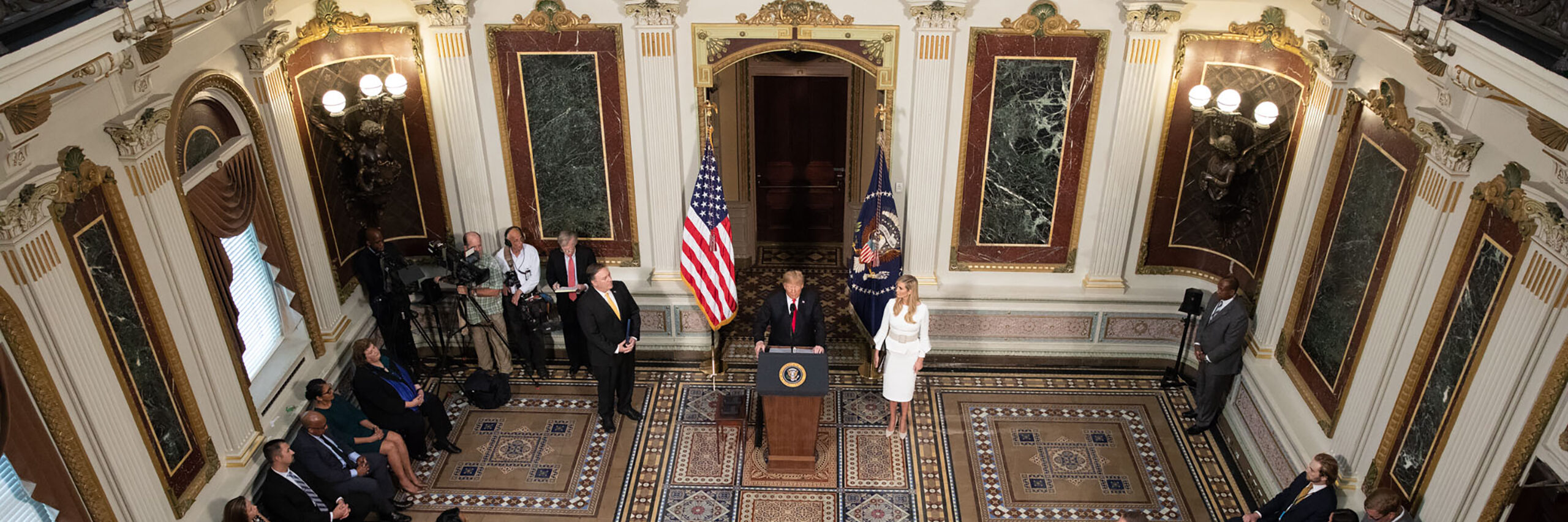 President Trump, Advisor to the President Ivanka Trump, and Secretary of State Mike Pompeo participate in a meeting of the President's Interagency Task Force to Monitor and Combat Trafficking Persons (PITF), October 11, 2018 (Photo Credit – Official White House photo by Joyce N. Boghosian)