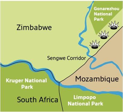 Landmines in the Sengwe Wildlife Corridor prevent the safe movement of wildlife and impede development. (Map courtesy of APOPO)