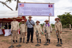Ambassador Haymond meets with a UXO Lao clearance team in Attapeu Province, Lao PDR. (Photo courtesy of U.S. Embassy Vientiane)