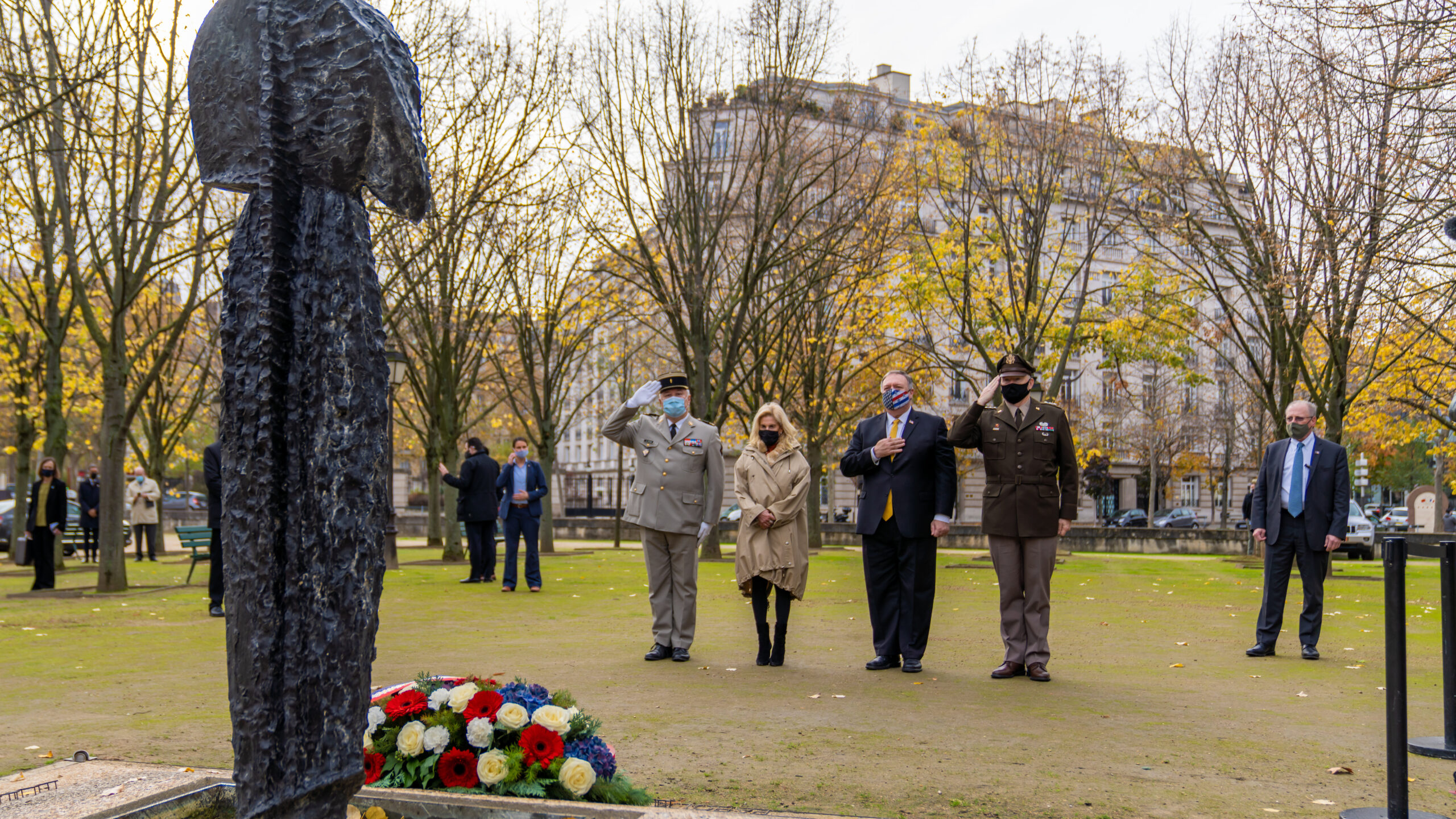 Secretary of State Michael R. Pompeo, with U.S. Ambassador to France Jamie McCourt, lays a wreath in remembrance of the victims of France's recent terrorist attacks in Paris, France.