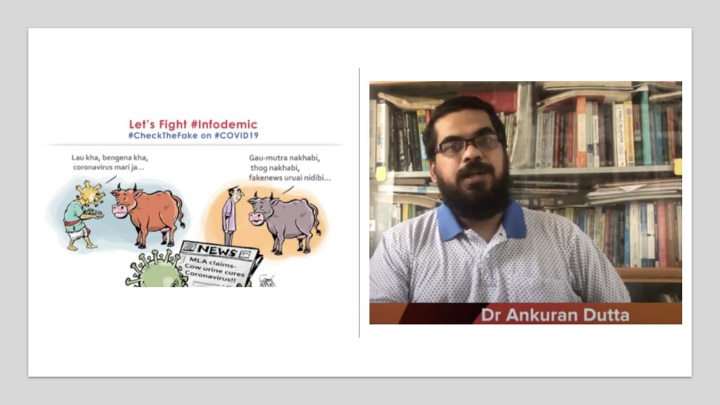 #ChecktheFake campaign graphic and screenshot of Dr. Ankuran Dutta (Courtesy: Dr. Ankuran Dutta/Gauhati University, Assam, India)