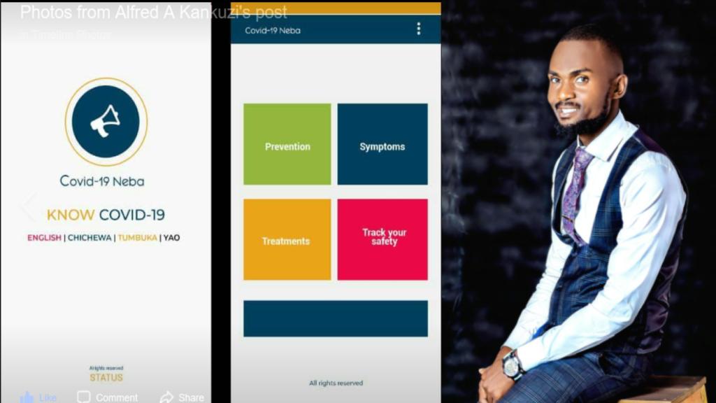 "Screenshot of the ""Hey Neighbor"" app next to its inventor, Alfred Kankuzi. (Courtesy: Alfred Kankuzi)"