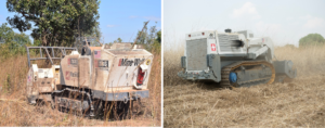 The MineWolf (left) and Digger D-250 (right) are remotely-controlled machines that accelerate survey and clearance operations by using tillers to remove dense vegetation and destroy landmines. Manual deminers can quickly check whether the land processed by the machines has any remaining hazards. (Left photo courtesy of MAG. Right photo courtesy of The HALO Trust)