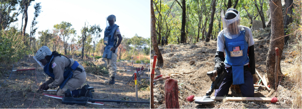 U.S.-funded MAG staff conduct manual demining with excavation tools (left), and HALO staff conduct manual demining with a metal detector (right). (Photos courtesy of MAG and The HALO Trust, respectively)