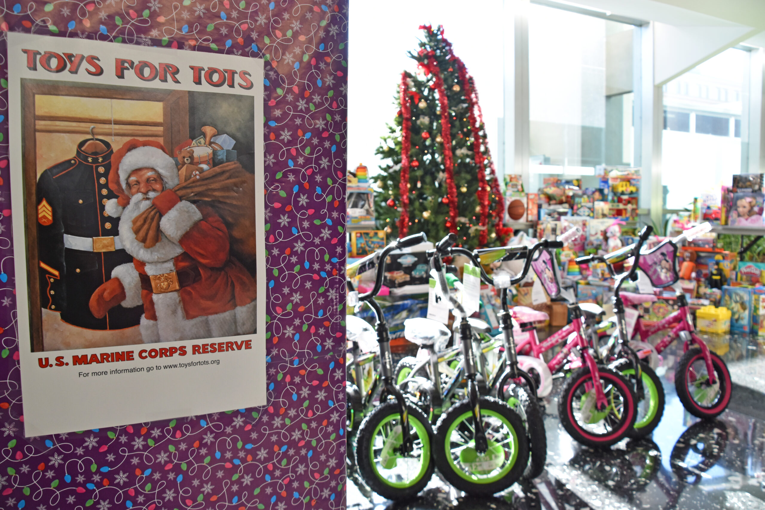 Toys wait patiently in the lobby of the Department of State Harry S Truman Building before DSS uniformed guards pack and deliver them to the USMC as part of its Toys for Tots program, December 17, 2020. (U.S. Department of State photo)