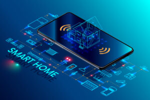 Smart home controlled smartphone. Internet of things technology of home automation system. Small house standing on screen mobile phone and wireless connections with icons home electronics devices. iot [shutterstock]