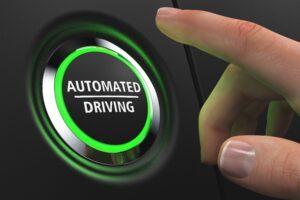 Green illuminated push-button - Automated Driving. 3D illustration